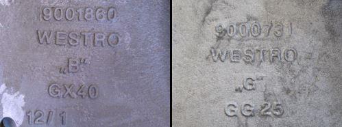 Türplatten für Zweikammerofen aus GJL 250 (kalte Seite) und GX 40CrNiSi27.4 - 1.4823 (heiße Seite) Stückgewichte zwischen ca. 70 - ca. 160 Kg einschl. Befestigungsbohrungen und gefräster Ober- und Unterseite (planparallel = // 0,5 A)
